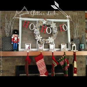 Christmas Mantle with glitter stick arrows b