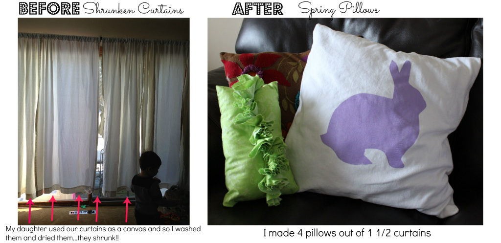 Pillow before and after by Every Day is an Occasion