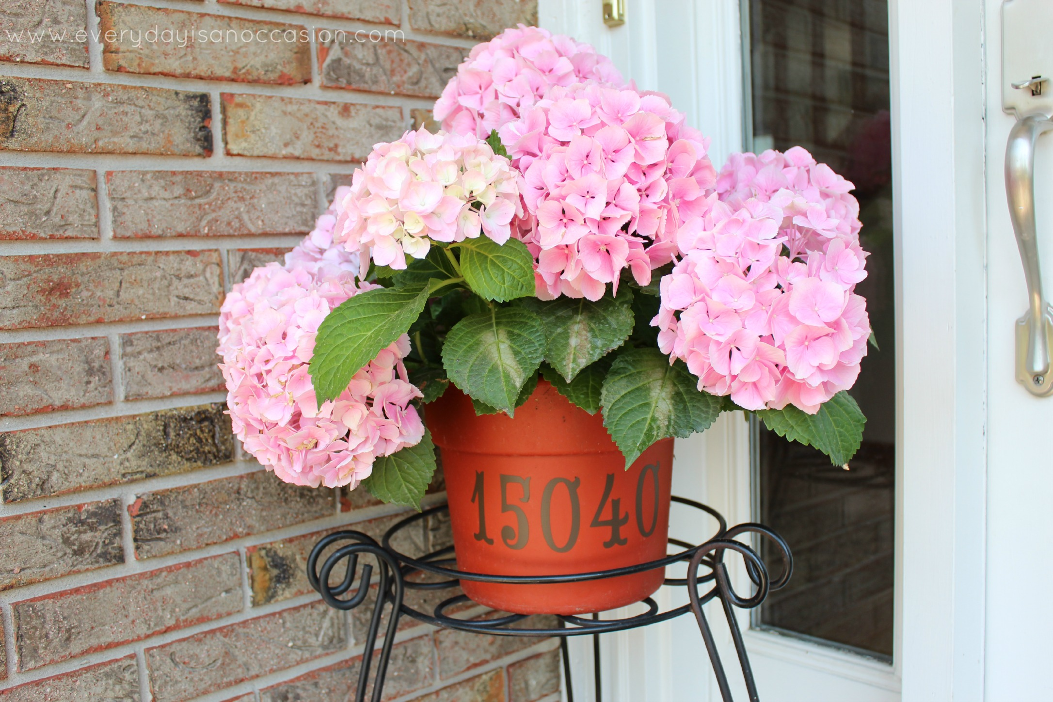 House Numbers on a Hydrangea Planter