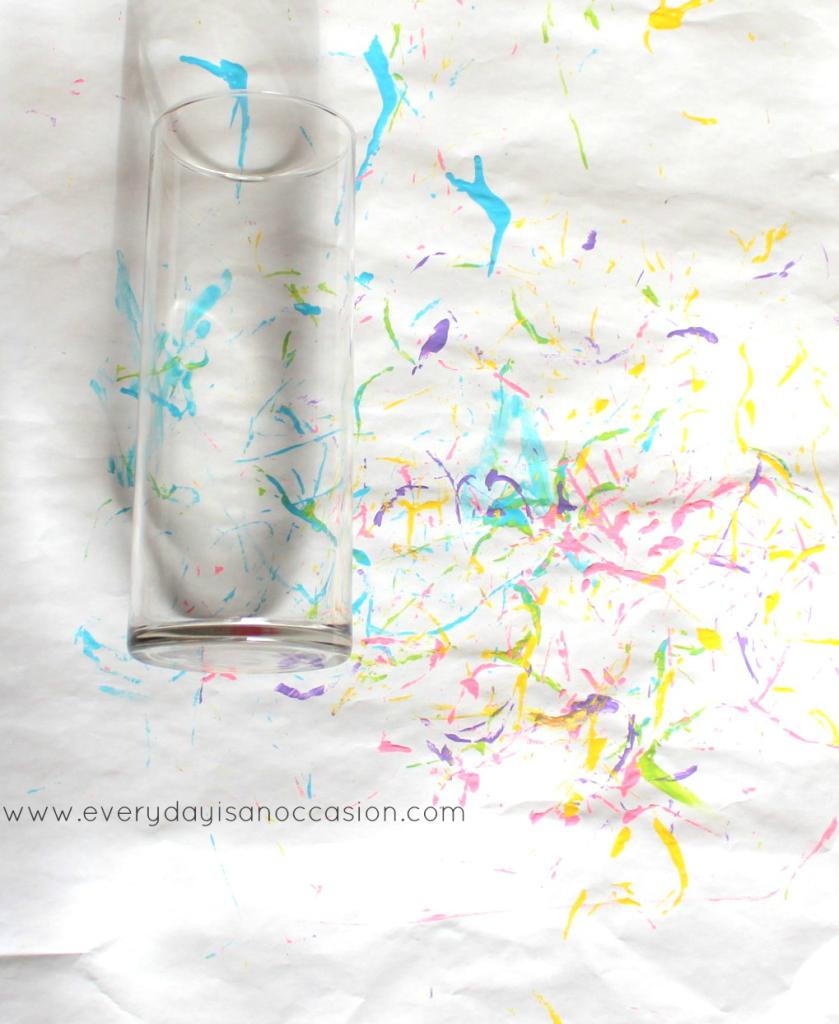 child's artwork on vase