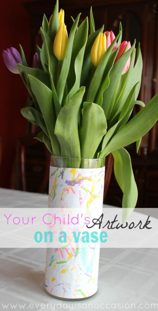 childs artwork on a vase