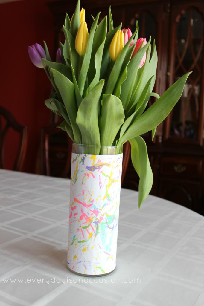 Child's artwork on a vase