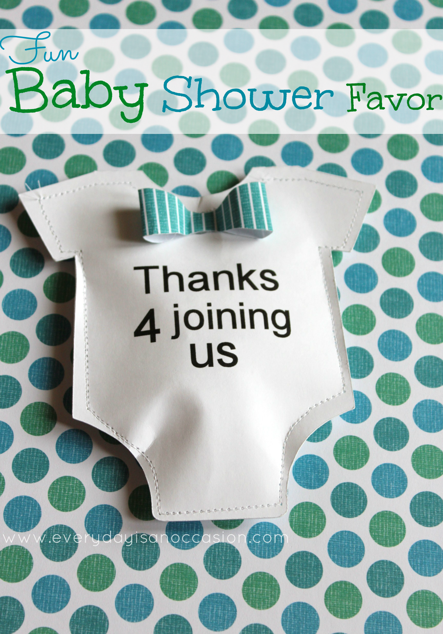 Baby Shower Bowtie Onesie Favor | Every Day Is An Occasion