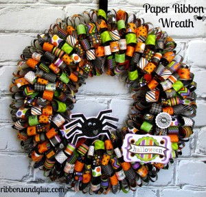 Halloween Paper Ribbon Wreath