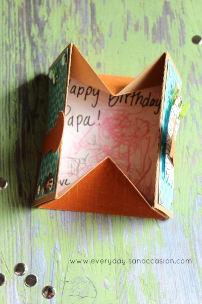 Birthday Box Card with Kids artwork inside