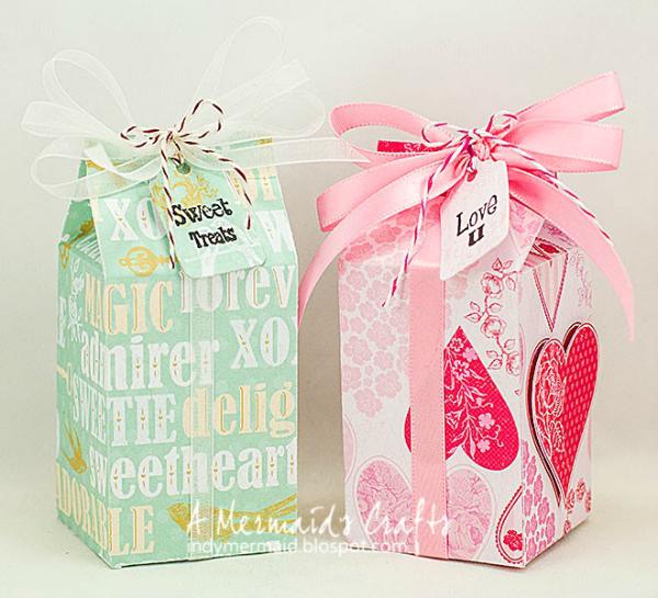Sizzix Milk Carton die Valentine Boxes by A Mermaids Crafts