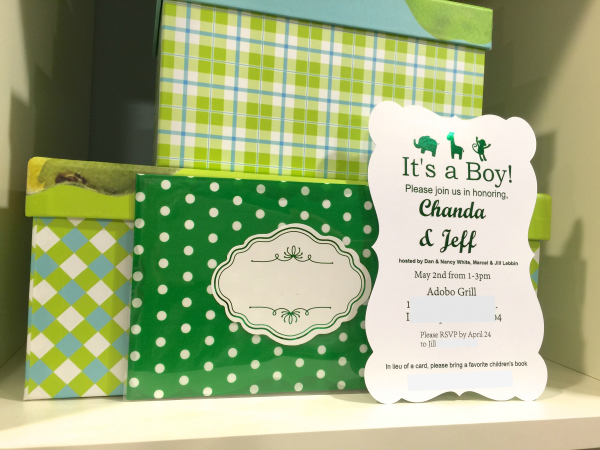 Green foiled baby shower invitation