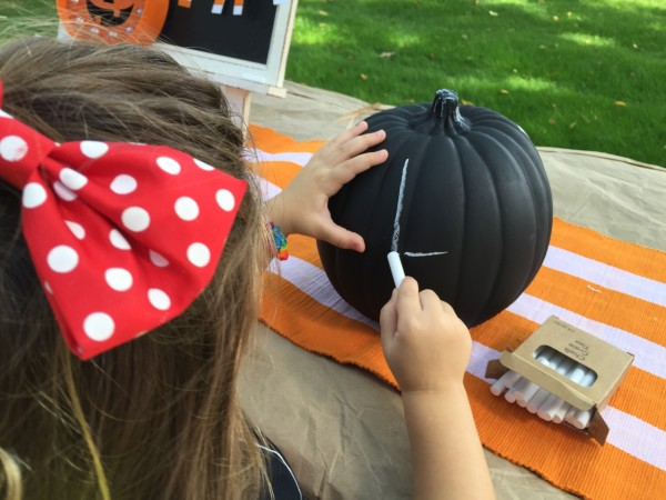 alphabet practice on a chalkboard pumpkin by Every Day is an Occasion